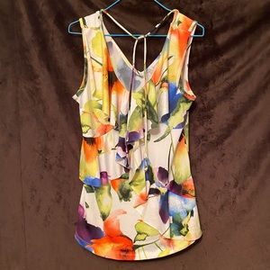 Colourful Floral Tank Blouse